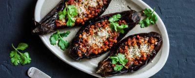 Moroccan Lentil Stuffed Eggplant